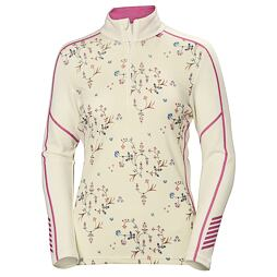 Dámské funkční triko Helly Hansen W Lifa Merino Graphic 1/2 ZIP off white scattered flower